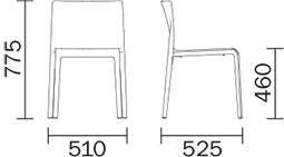 Dimensions chaise Volt de Pedrali