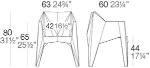 Dimensions fauteuil Voxel de Vondom