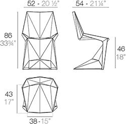 Dimensions chaise Voxel de Vondom