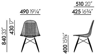 Dimensions Wire Chair DKW de Vitra