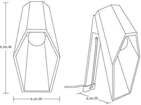 Dimensions lampe de table Woodspot de Seletti
