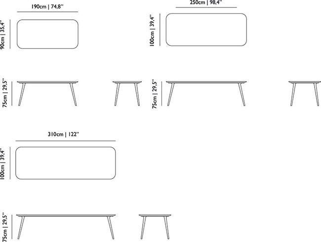 Dimensions table Zio de Moooi