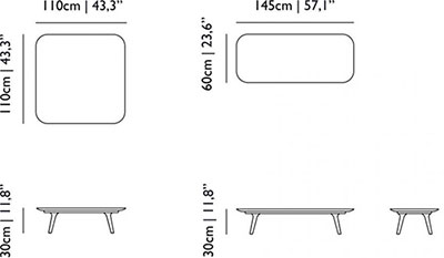 Dimensions table basse Zio de Moooi