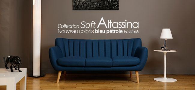 Nouveau coloris bleu Pétrole canapés et fauteuil Soft Altassina